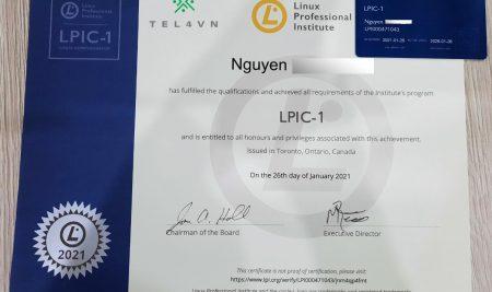 Chúc mừng học viên TEL4VN thi đậu chứng chỉ Linux LPIC tháng 04